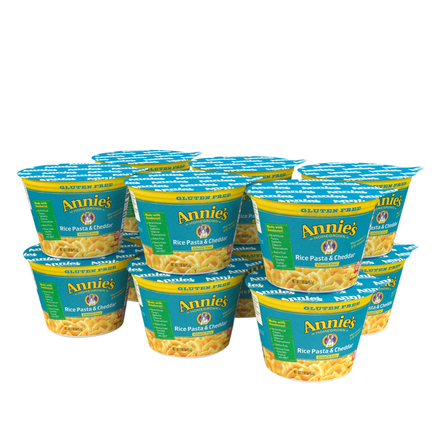 Annie's Rice Pasta and Cheddar Macaroni and Cheese, 2.01 oz (Pack of 12)