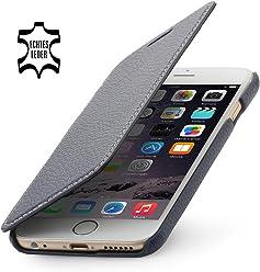 StilGut housse pour iPhone 6 en cuir véritable à ouverture latérale, marron nappa noir avec clip