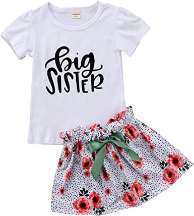 Toddler Baby Girl Little Big Sister Matching Clothes Short Sleeve Top+Floral Pants//Skirt Clothing Set