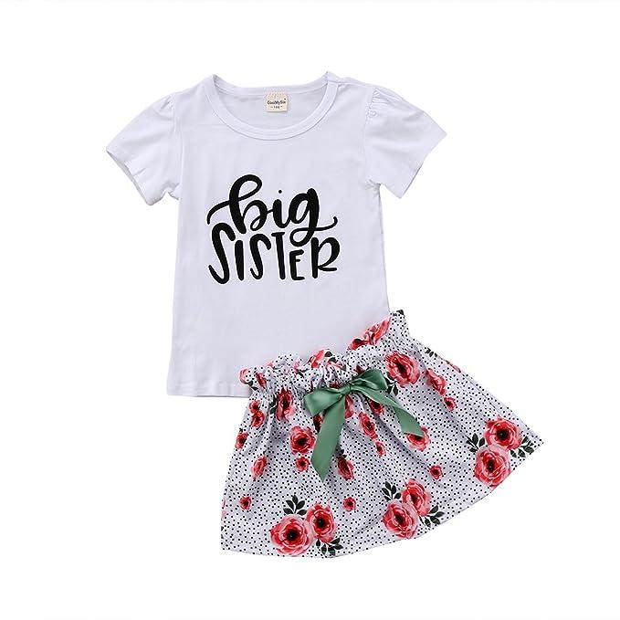 0cc63fe7f KIDSA 2-7T Big Sister Toddler Baby Little Girls Kids Outfits Set Short  Sleeve T