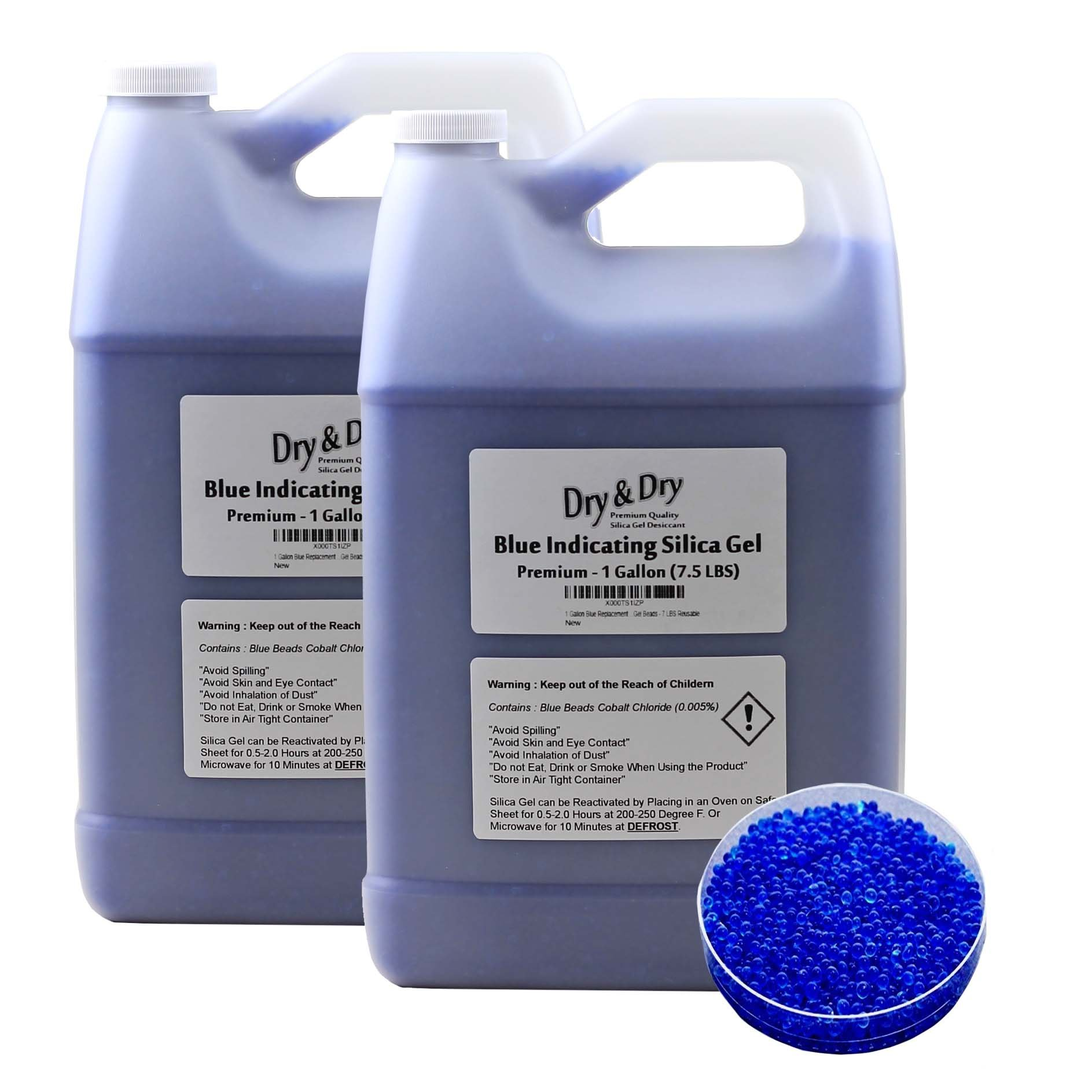 ''Dry & Dry'' (2 Gallon) Premium Blue Indicating(Blue to Pink) Silica Gel Desiccant Beads(Industry Standard 2-4 mm) - Rechargeable(15 LBS) by Dry & Dry
