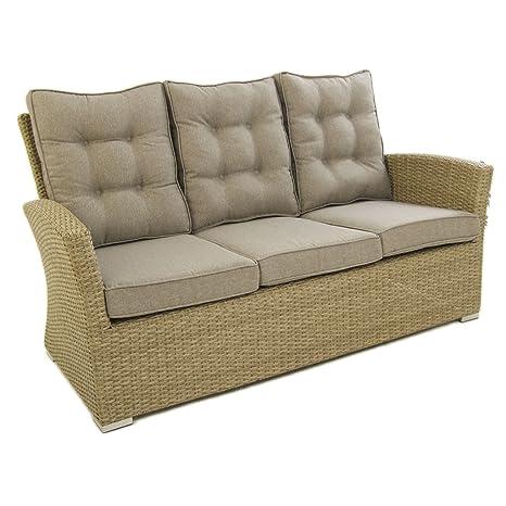 Sofá para jardín, 3 plazas, Color Natural, Aluminio y rattán sintético, Tamaño:80x170x93 cm,Cojines marrón incluidos
