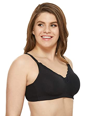 bf0f3ef5fdd84 Gratlin Women's Wirefree Non Padded Plus Size Cotton Maternity Nursing Bra  Lace Black 34B