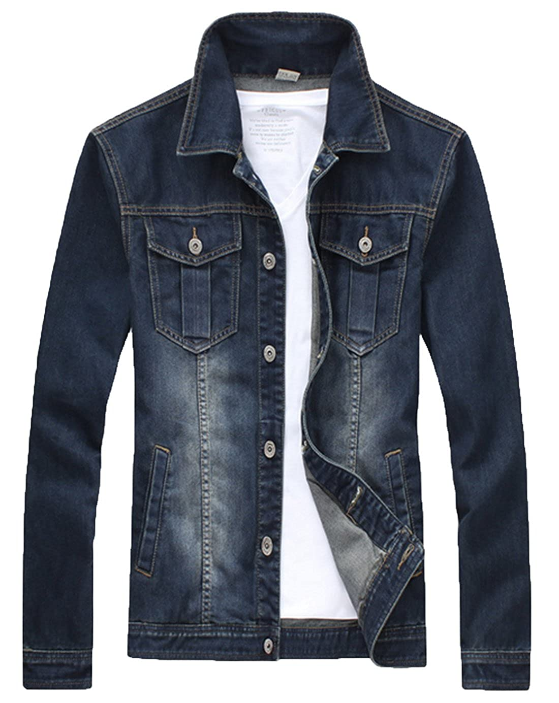 XueYin Mens Denim Jacket Slim Fit