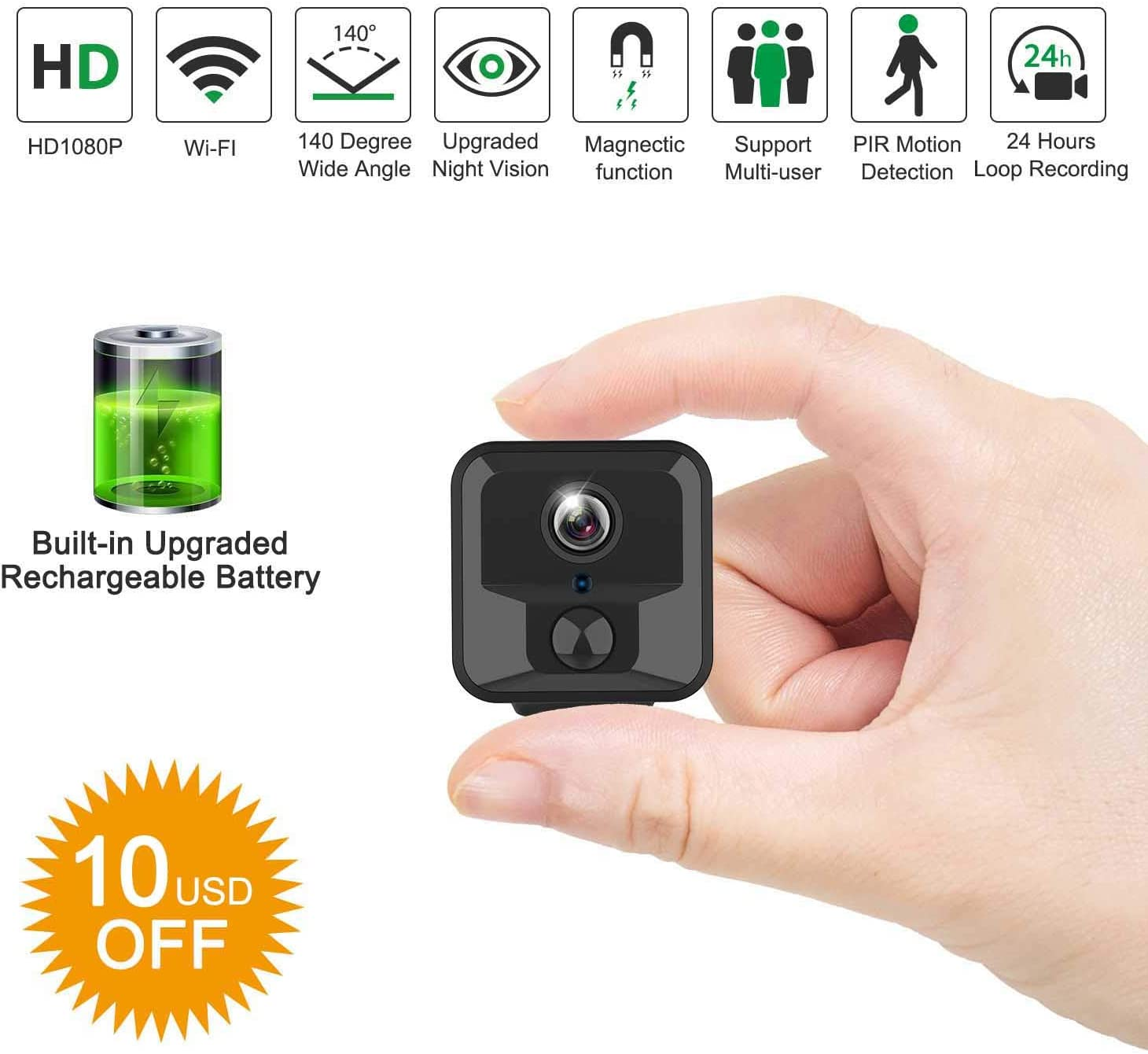 WiFi Hidden Camera, Relohas Full HD 1080P Mini Camera WiFi, Upgraded Night Vision Motion Activated Spy Cam Nanny Cam, Security Camera for Home and Outdoor (with Phone APP)