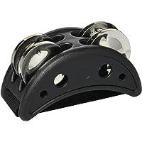 Meinl Percussion cfjs2s - BK pie de acero inoxidable pandereta con campanas y marco de madera de densidad media negro
