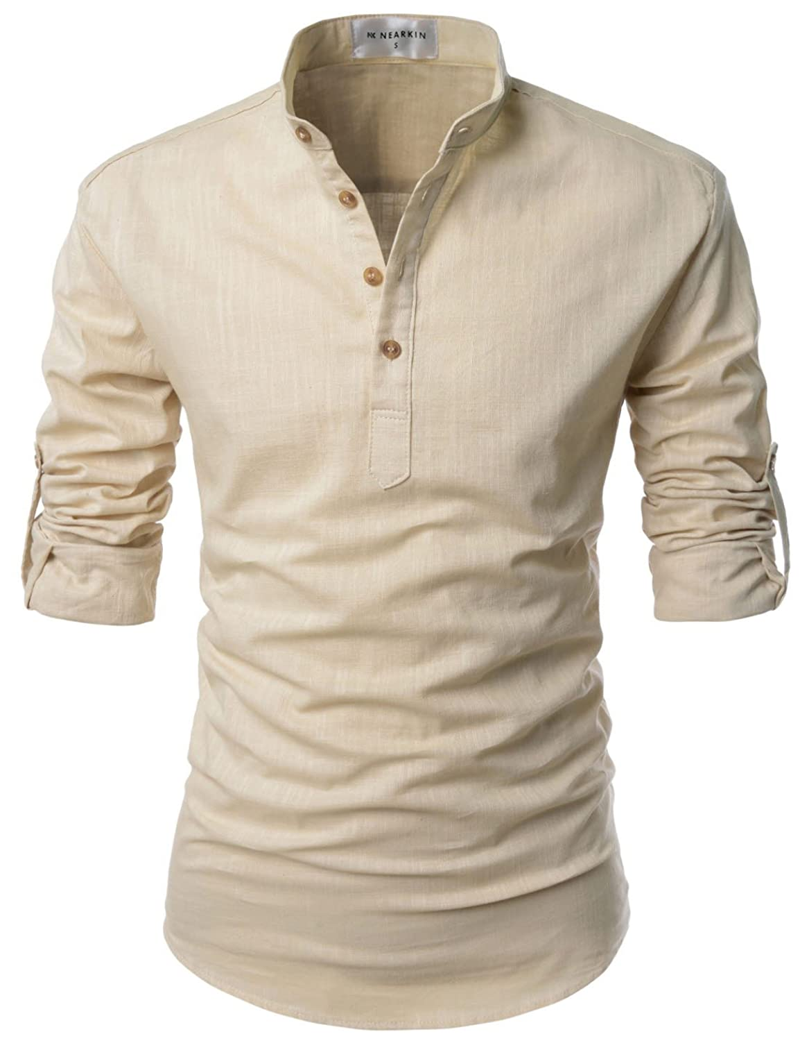 51defb2f4f32a9 Roll up Long Sleeve Linen Banded Collar Slim fit Henley Shirts for Men