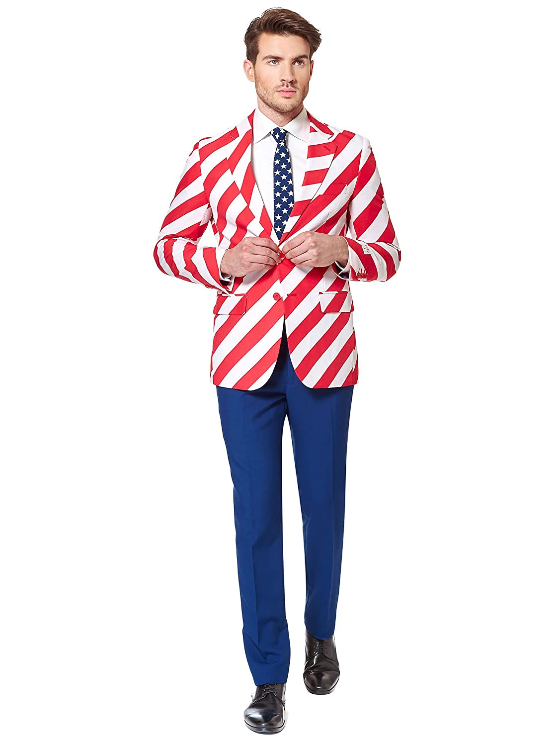 60s -70s  Men's Costumes : Hippie, Disco, Beatles Opposuits American Flag Suit for Men – USA Outfit for The 4th of July with Pants Jacket and Tie $93.99 AT vintagedancer.com