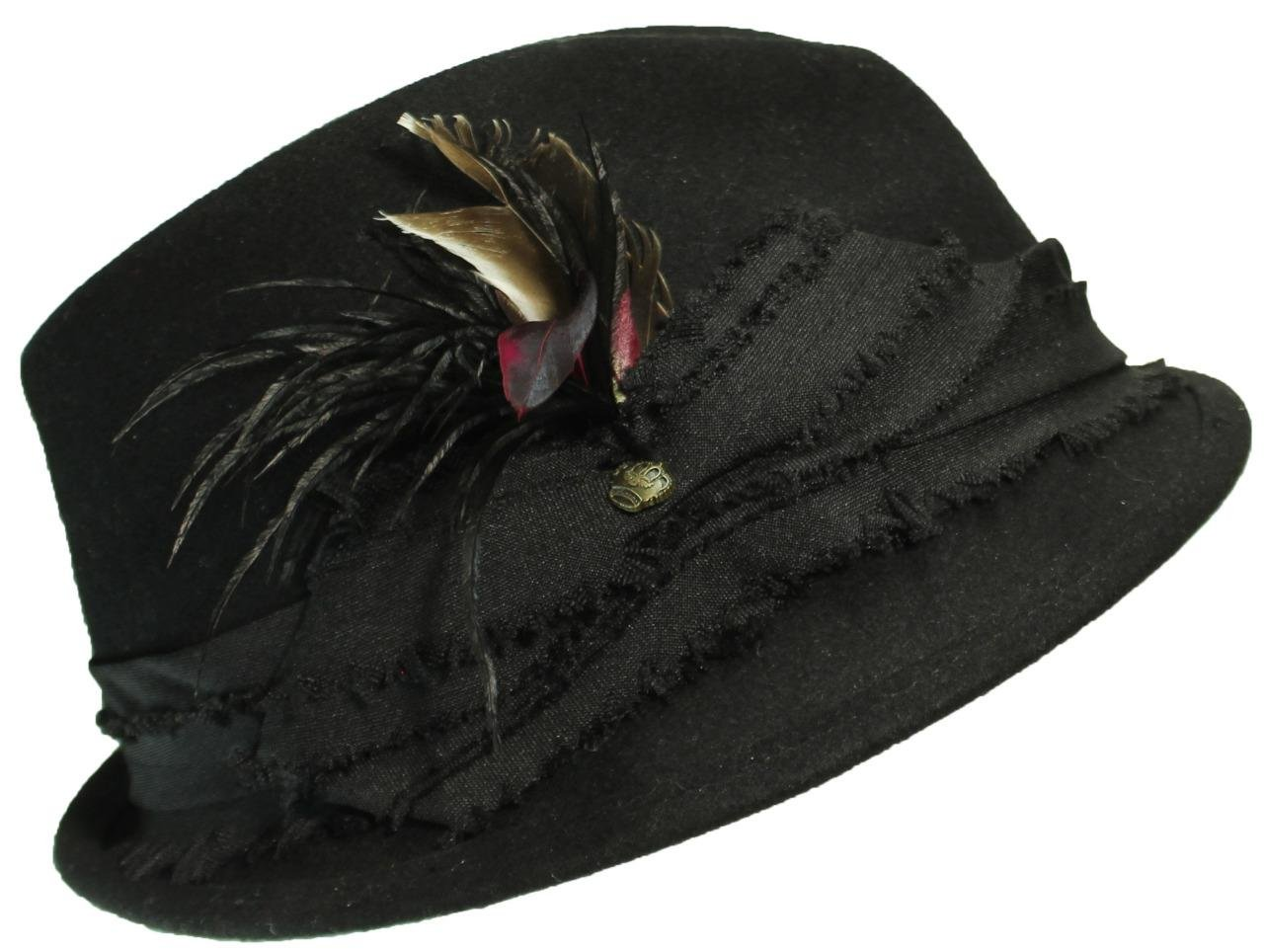 ANGELA & WILLIAM Womens Wool Fedora Hat W/Feathers & Band with Knot & Charm - Black
