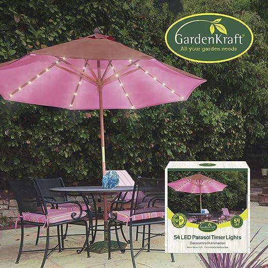 GardenKraft - Faros para sombrilla (54 LED, luz Blanca cálida): Amazon.es: Jardín