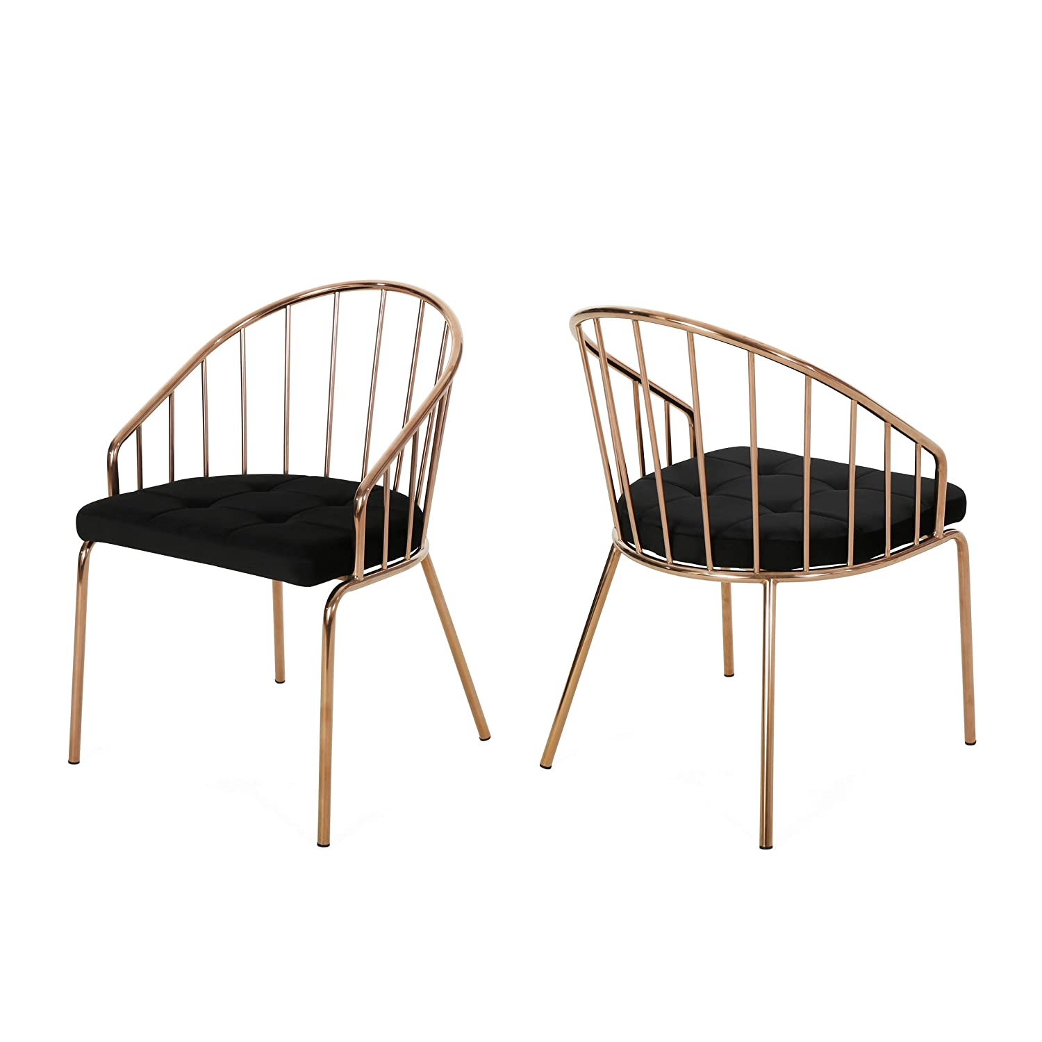 Christopher Knight Home Marcia Modern Velvet Dining Chair with Stainless Steel Frame (Set or 2), Black and Rose Gold