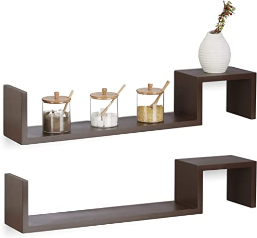 Relaxdays Juego de 2 Estantes de Pared en Forma Zigzag, Madera, Marrón, 15x80x15 cm: Amazon.es: Hogar