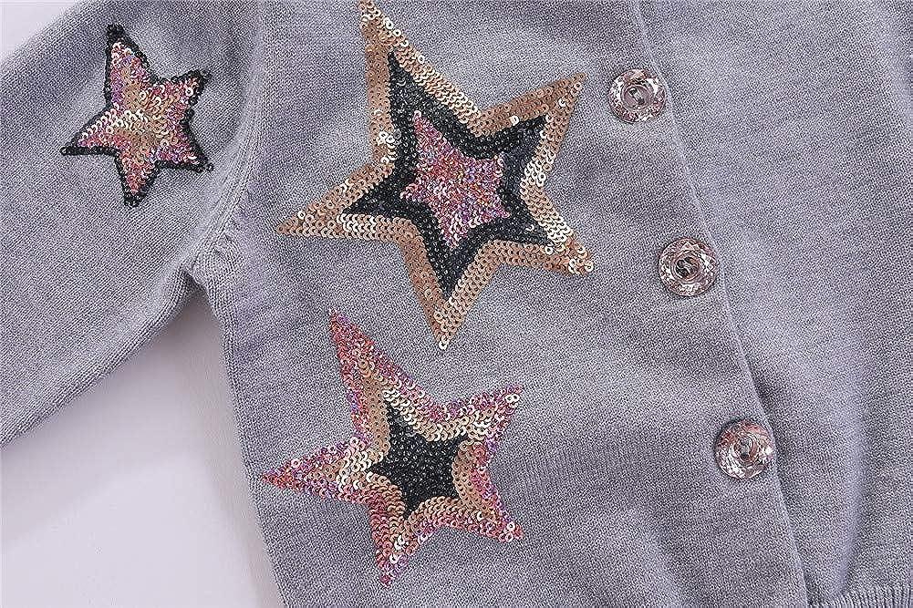Mud Kingdom Little Girls Cardigan Sweater Sparkly Sequins Cute Stars