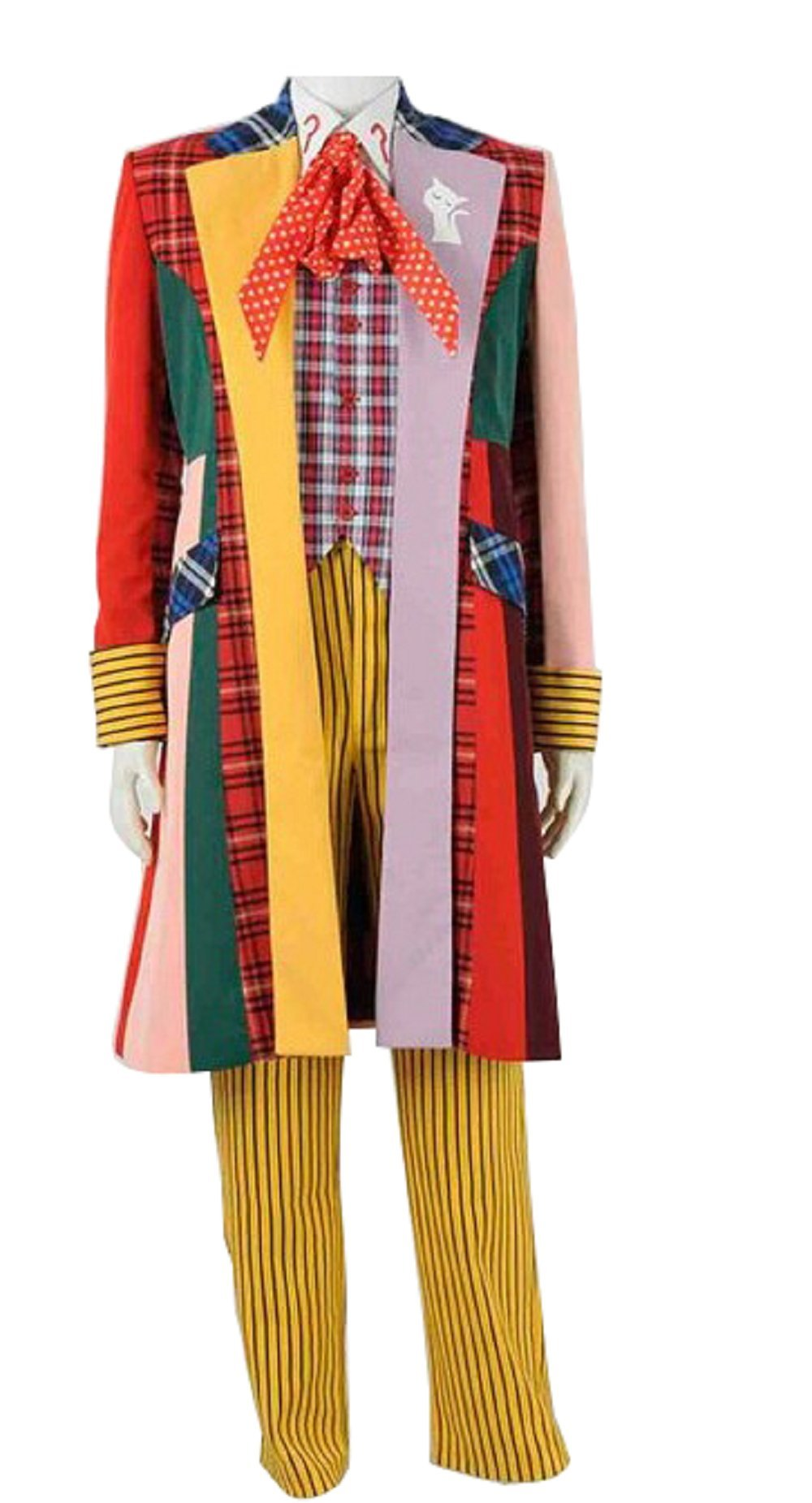 Cosdaddy Doctor 6th Sixth Doctor Dr Who Cosplay Costume Colorful Lattice Jacket Coat 98112638 (XL)