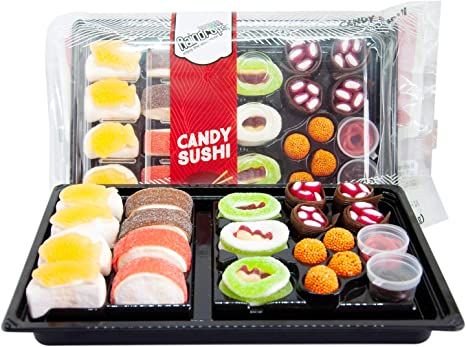 Raindrops Gummy Candy Sushi Bento Box with 6 Kinds of Sushi Rolls and Garnishes