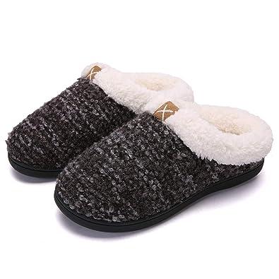 Warm Slippers Womens Memory Foam Non Slip Sole Comfy Fluffy Wool-Like  Fleece Lined Ladies 82cd30c17d0a