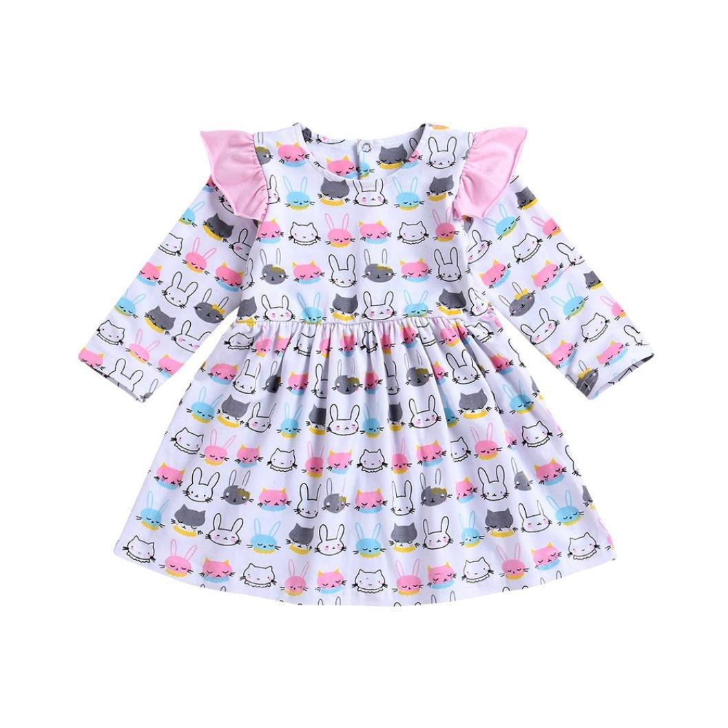 Kleid Mädchen, HUIHUI Festlich Prinzessin Party Kleid Mode Hase Drucken Lange Ärmel Rock Casual Frühling Sommer Herbst Bekleidung 0-4 Jahr Kleid Mädchen HUIHUI_3215