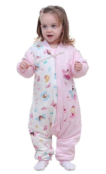 chils uessy Baby 2.5 tog Saco de dormir de invierno con pies y extraíble manga larga