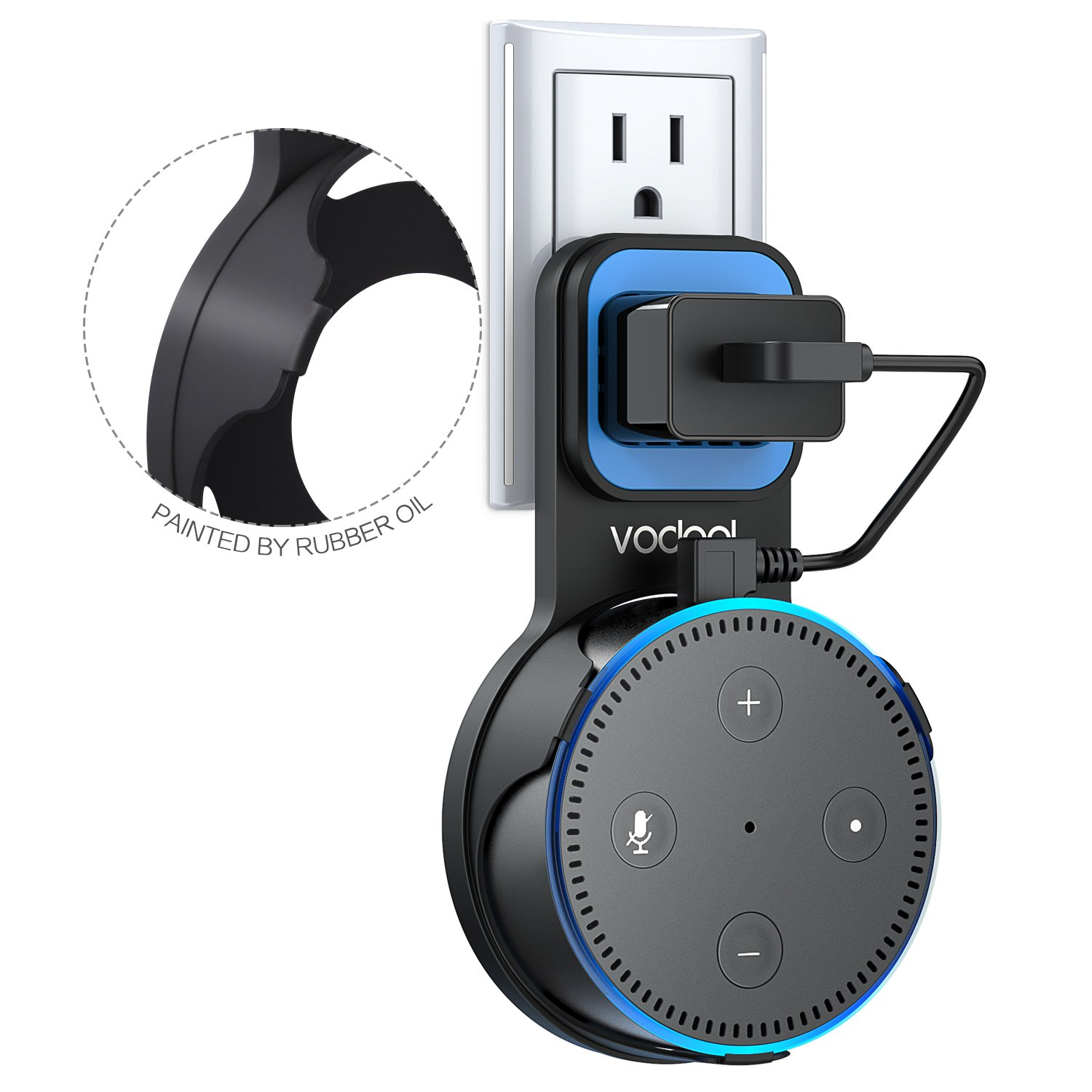 Wall Mount Stand for Echo Dot 2nd Generation, Vodool Hanger Holder Space-Saving Solution for Your Smart Home Speakers without Messy Wires or Screws, Charging Cable Provided - Black