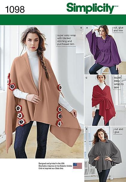 Amazon.com: Simplicity 1098 Misses\' Fleece Ponchos & Wraps Sewing ...
