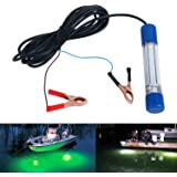 Amarine-made Green 12V 180 LED 1000 Lumens Lure Bait Finder 8W Night Fishing Finder Lamp Light Crappie Shad Boat LED Submersible Deep Drop Underwater Light with Battery Clip