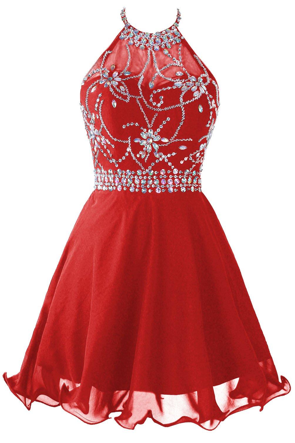 Topdress Womens Short Beaded Prom Dress Halter Homecoming Dress Backless