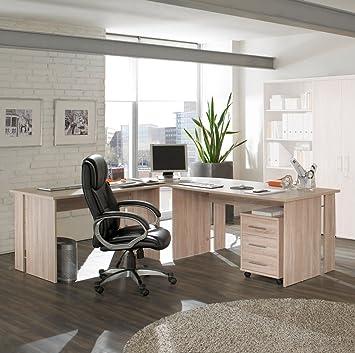 4 teilige büro winkelkombination in eiche dekor: amazon.de: küche ...