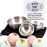 Stainless Steel Bath Bomb Molds Professional Set, 3 Sizes: Large, Medium, Small. Heavy Duty Metal, Dent & Rust Proof. Storage Bag, Instructions, Recipe Ebook by Healthy Home Helper.