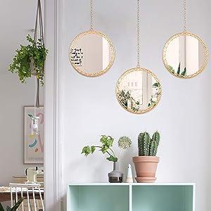 VVK Hanging Wall Mirrors Decorative - Set of 3, 10