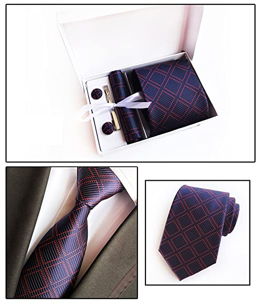 Mon5f Home Corbata de Tela Escocesa Azul Marino, a Cuadros, Azul ...