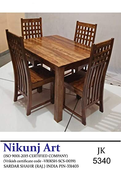 144a5903e935 Nikunj Sheesham Wood Four Seater Dining Table Set for Home Living Room-  Brown: Amazon.in: Home & Kitchen