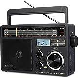 Retekess TR618 AM FM Radio Plug in Wall, Portable Shortwave Radios, Analog Radio with Best Reception, Support SD,TF, USB, Ide