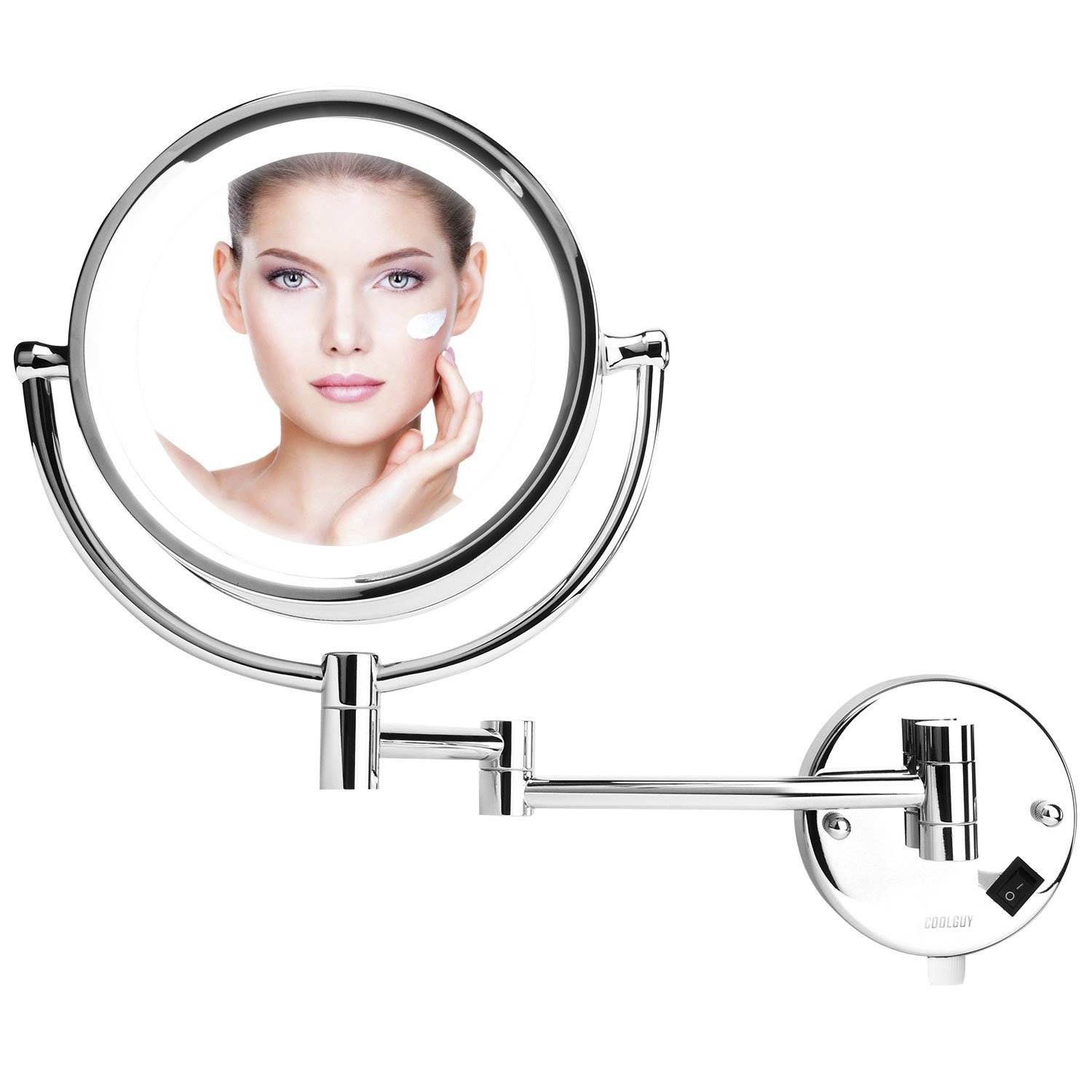 Lighted Makeup Mirror, Wall Mount Mirror , Wall Vanity Mirror with 8.5- Inch, 1x/10x Magnification for Makeup, Shaving in Bedroom or Bathroom, Chrome by COOLGUY by COOLGUY