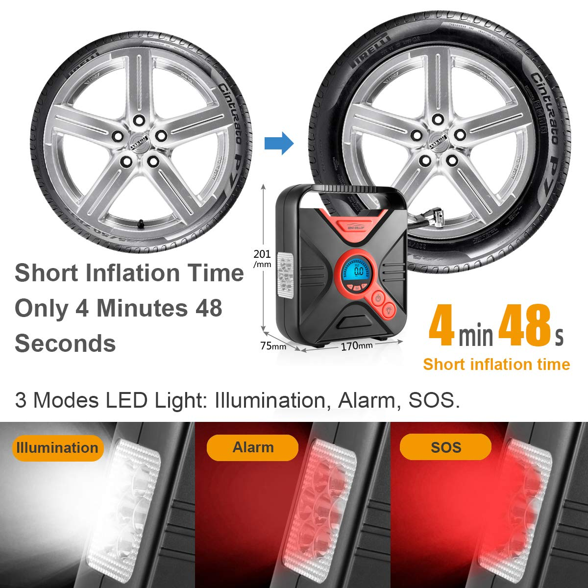 WindGallop Portable Air Compressor Tire Inflator Air Pump for Car Tires DC 12V Tire Pump with Gauge Valve Adaptors LED Light for Automobiles Bike Motorbike Basketball Inflatables Red
