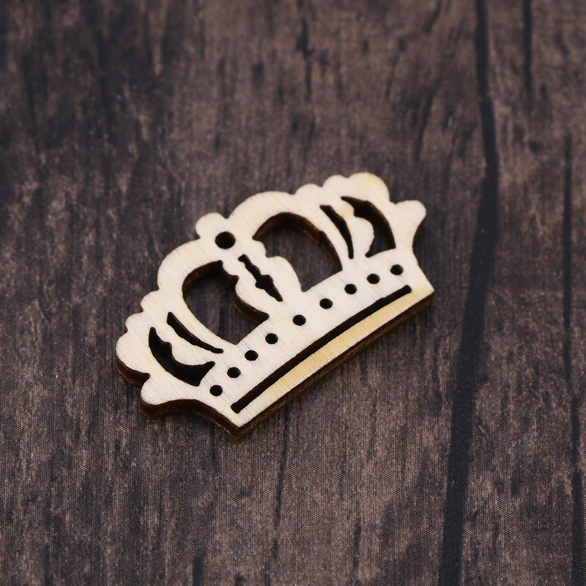 Amosfun 50pcs Forme Legno a Forma di Corona Bambino Albero Log Dischi centrotavola Decorazione per Fai da Te Artigianato