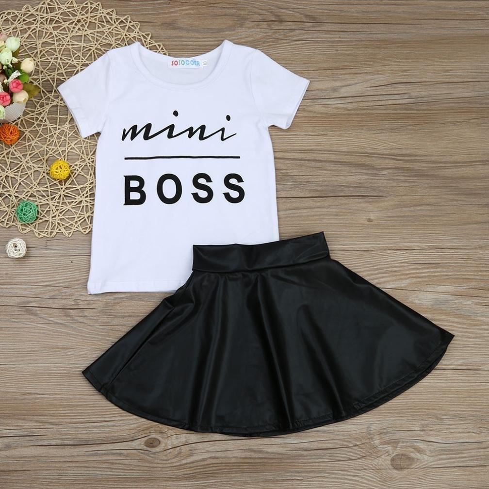 Tutu Gauffer Skirt FORESTIME/_baby clothes girl FORESTIME Infant Newborn Baby Girls Mini Boss Print Short Sleeves T-Shirt