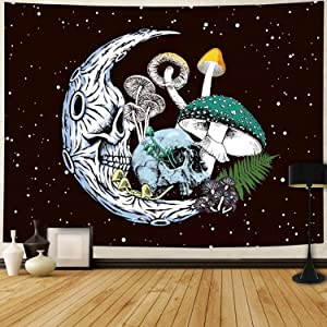 Black Tapestry Skull Moon Wall Tapestry Colorful Mushroom Tapestry Skeleton Tapestry for Bedroom, Home Wall Decor (59 x 51 inches)