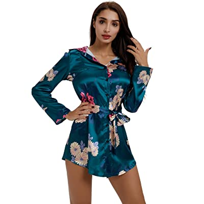Moxeay Women Long Sleeve Floral Print Satin Silk Button Down Shirt Dress with Belt at Women's Clothing store