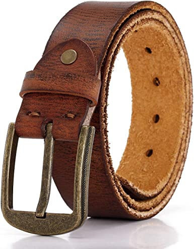 Available in 4 Colors Double Prong 2//Row Full Grain Leather Dress Belt For Men