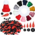 270 Pieces DIY Christmas Snowman kit Included Mini Knit Christmas Hats,Carrot Noses Buttons and Tiny Black Buttons for Christmas Snowman Crafting and Sewing Supplies