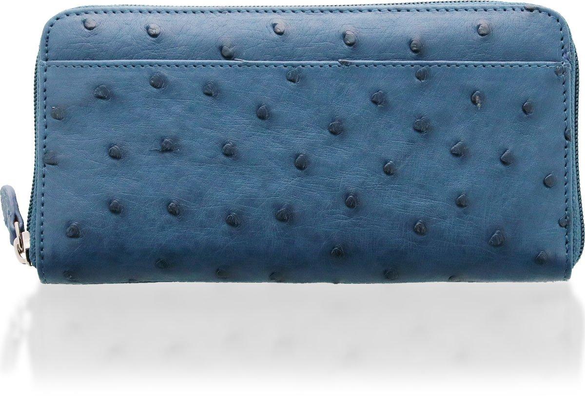 財布 レディース 長財布 オーストリッチ レザー ラウンド ファスナー B00GZ9QF3G ブルー ブルー
