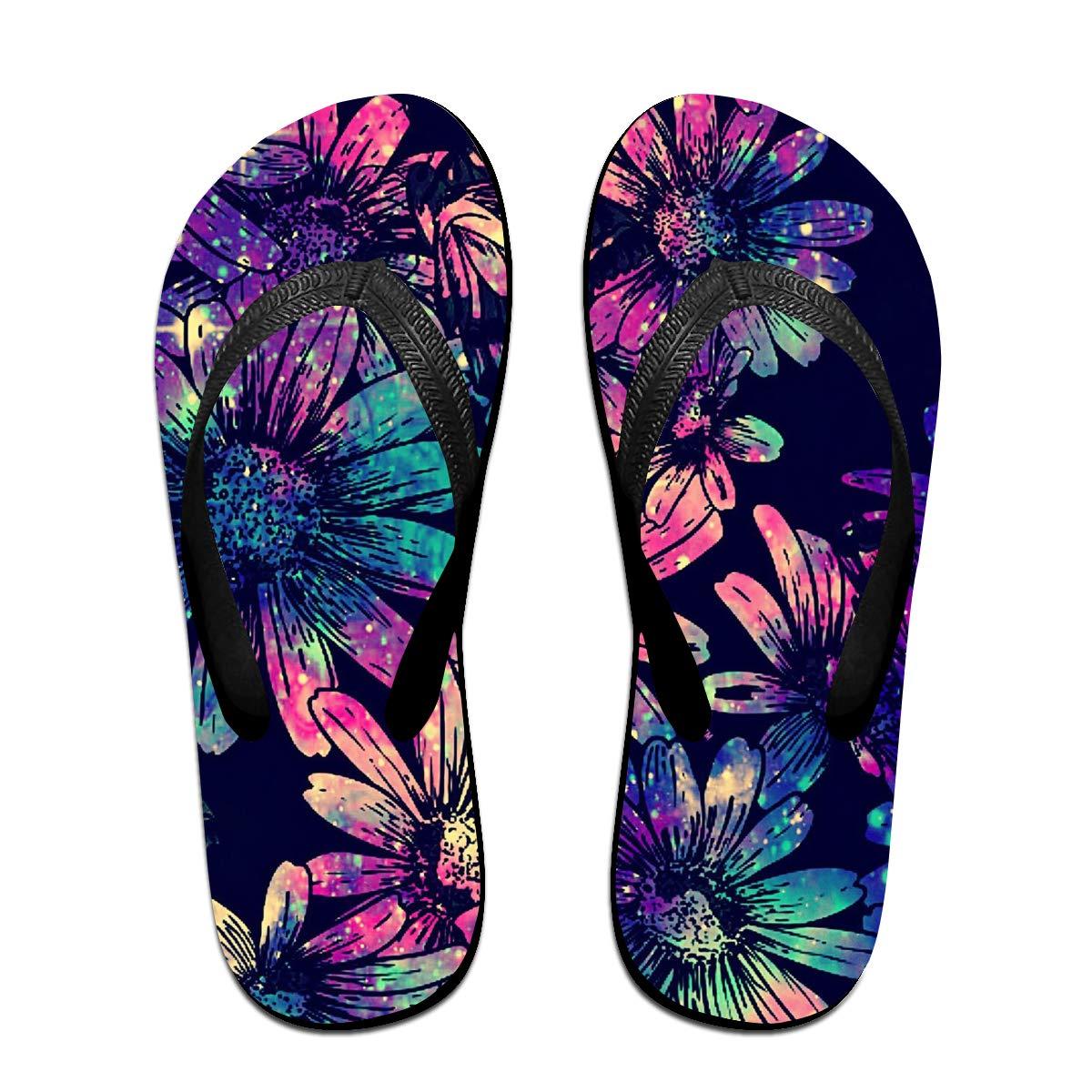 Lojaon Couple Slipper Blue Daisy Flowers Print Flip Flops Unisex Chic Sandals Rubber Non-Slip Spa Thong Slippers