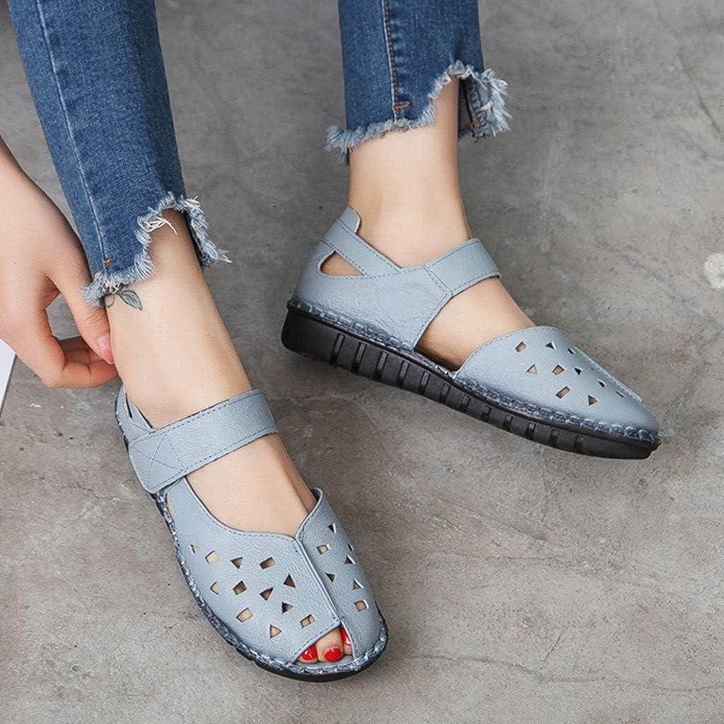 Yowablo Sandales Femmes Fond Doux National Fish Mouth Dames Été Creux Chaussures Plates Bleu