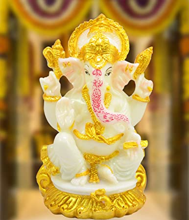 Buy Murti Krafts Handmade Resin Lord Ganesha White Copper Color