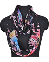 Sexyinlife Multicolor Floral Print Chiffon Infinity Loop Circle Scarf