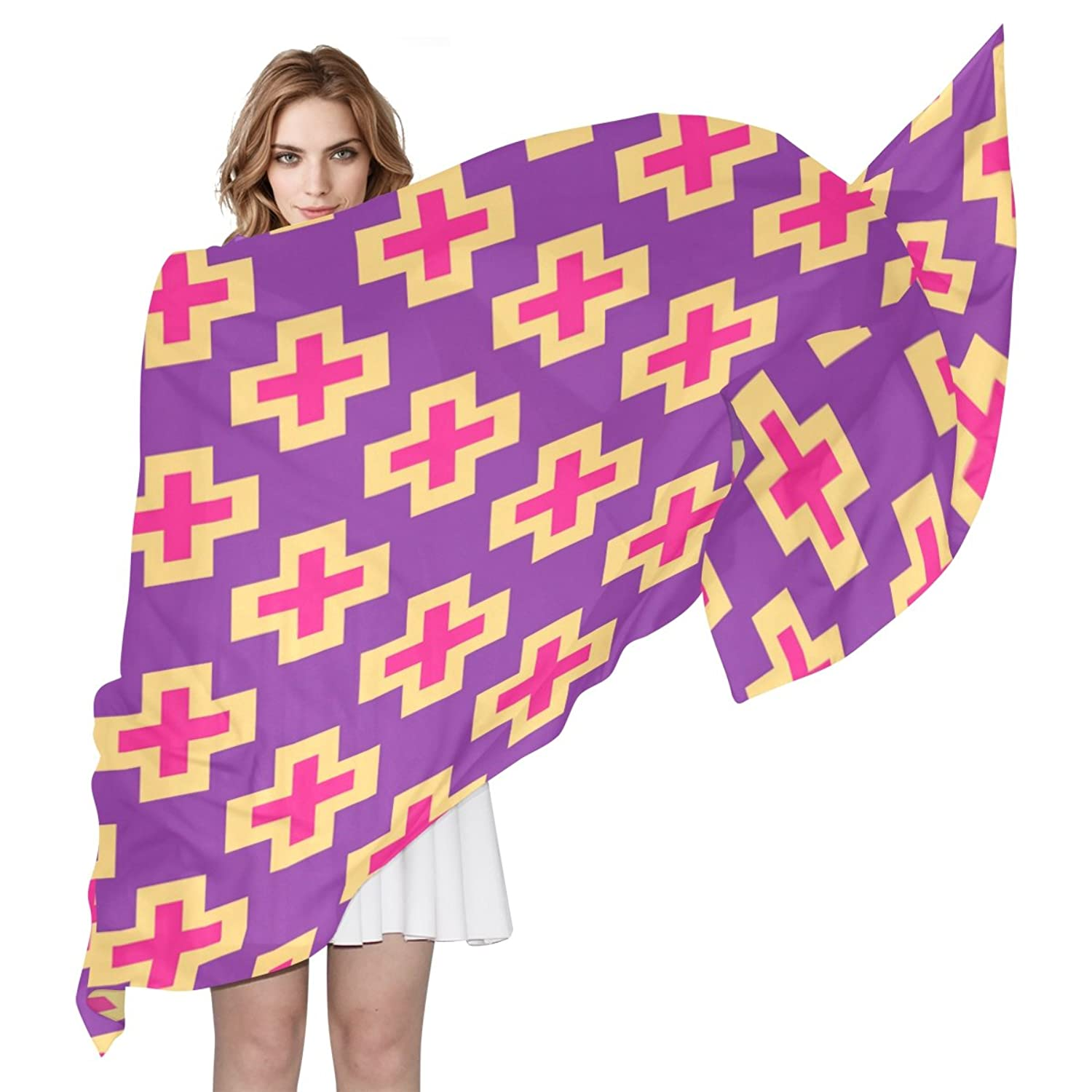 BYouLockX Women's Silk Scarf Shawl With Wine Red Cross Pattern And Purple Pattern