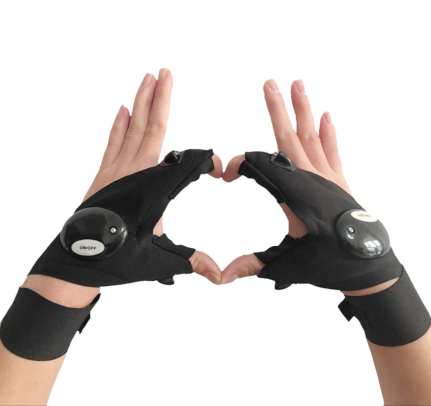 Coroler Cool Fingerless LED Flashlight Gloves for Repairing,Working in Darkness Places, Fishing, Camping, Hiking and Outdoor Activities