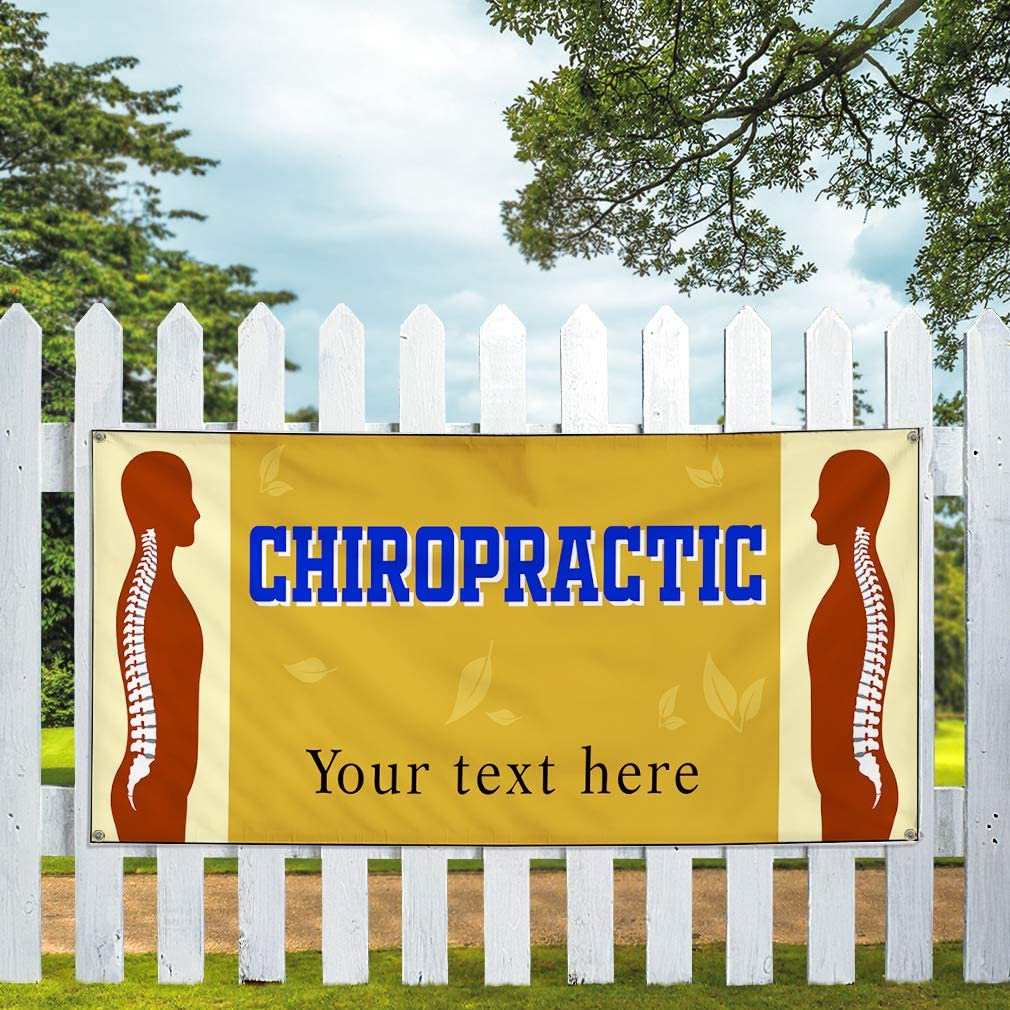 Custom Industrial Vinyl Banner Multiple Sizes Chiropractic Treatment Style B Personalized Text Here Profession Outdoor Weatherproof Yard Signs Brown 10 Grommets 60x144Inches