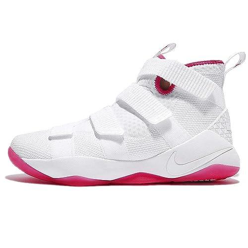half off ecf92 1697b Nike Men's Lebron Soldier XI EP, White/White-Vivid Pink, 8 M ...