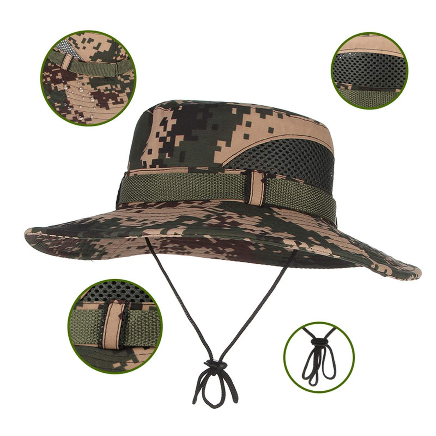 Mens Fashion Nepalese Hats Tactical Camouflage Bucket Hat Military Army Military Caps Summer Fisherman Cap